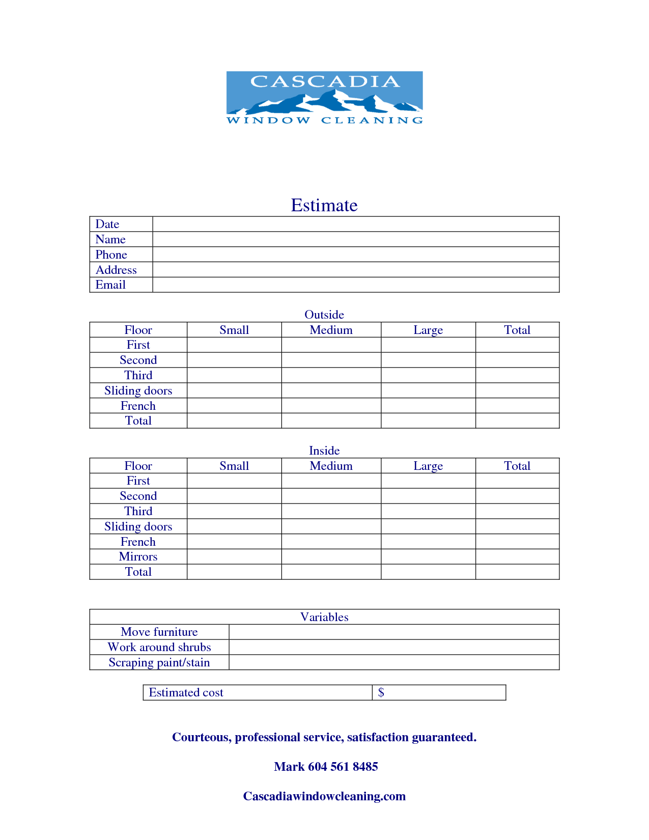 Window Cleaning Quote Template
