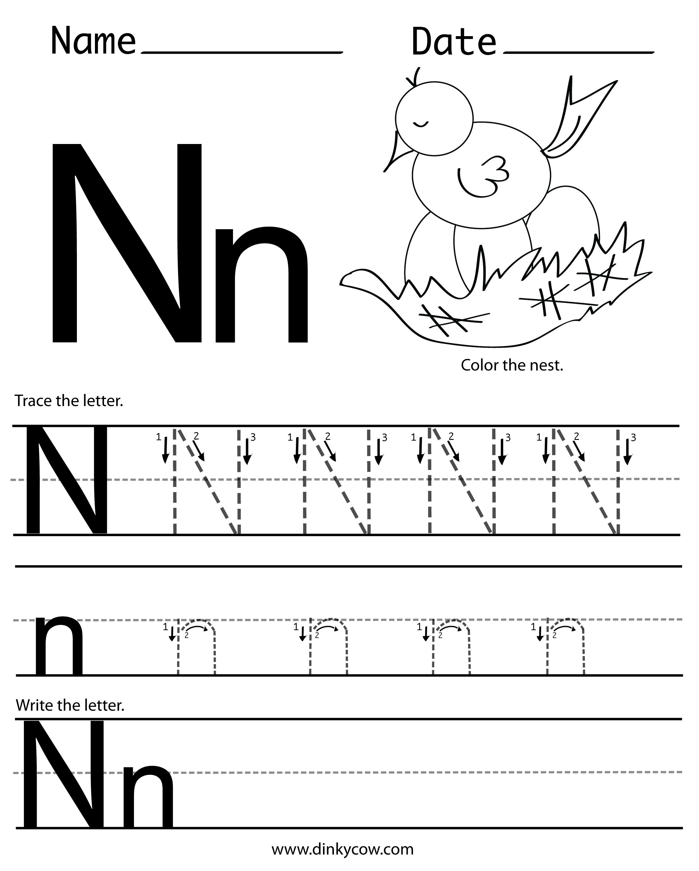N Free Handwriting Worksheet Print 2 400 2 988 Pixels