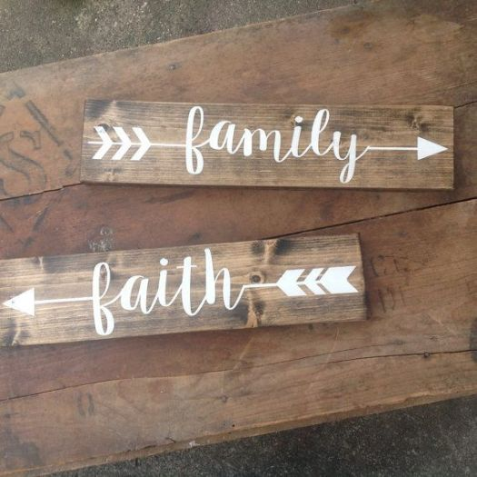 Arrow Wood Sign Pick One Rustic Family Love