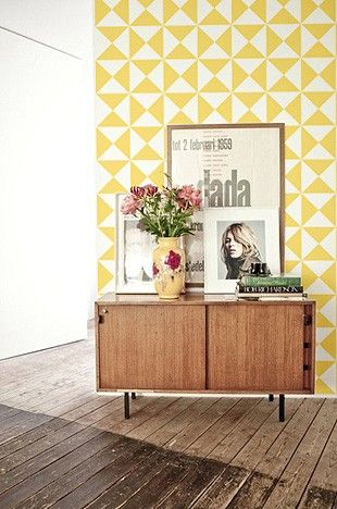Yellow triangles wall decal adhesive art temple  webster presents decals pinterest removable temples and also rh