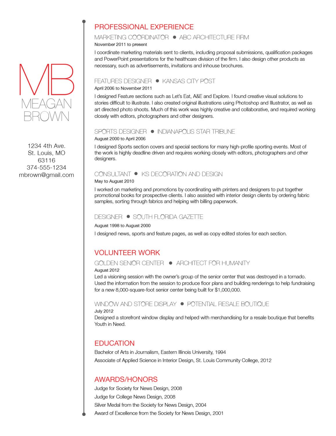 Custom resume and cover letter template  Big initials