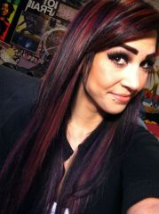 black red and purple bright hair