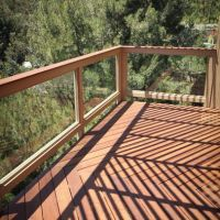 IPE Wood Balcony With Glass Railing Design Ideas, Pictures