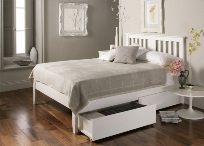 Malmo White Wooden Bed Frame Double Only