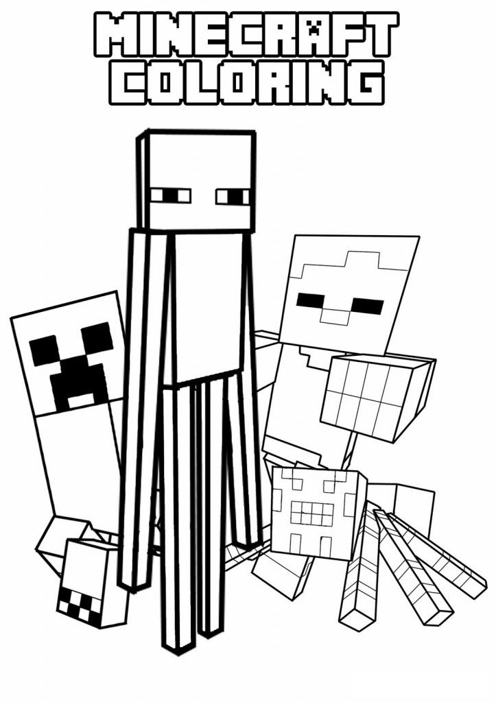 Creeper, Enderman, Spider and Villager mob pictures to