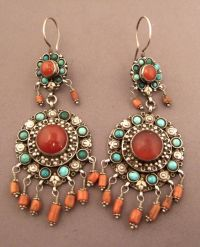 North India | Earrings; silver, coral, turquoise and ...
