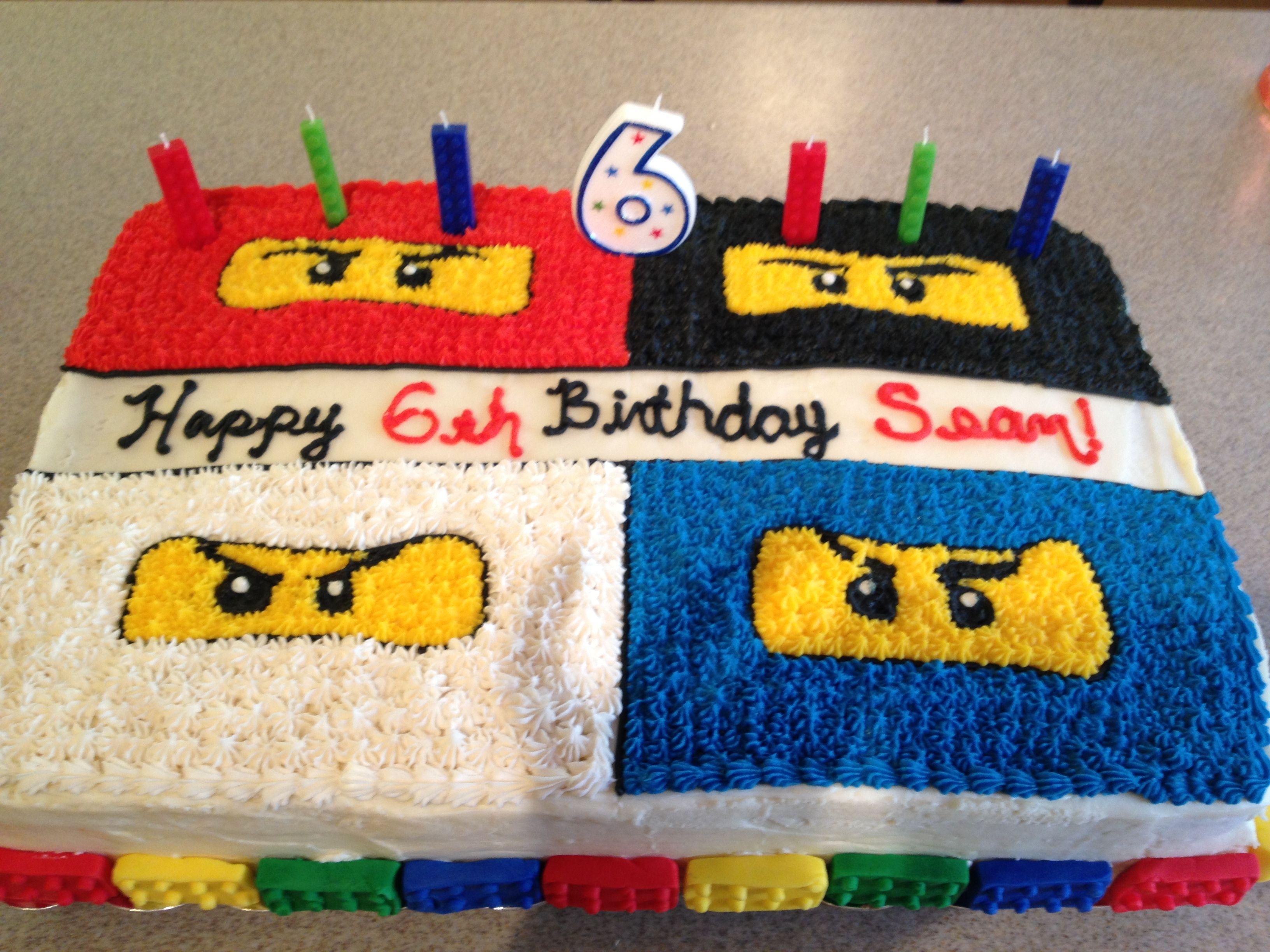 The Cake Design In Buttercream Fondant Legos Around Base