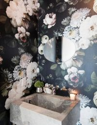 Ellie Cashman Dark Floral Wallpaper | Bathrooms ...