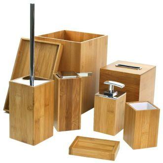 bathroom accessory set wooden 8 piece bamboo bathroom accessory