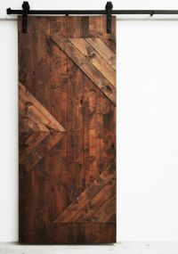 """Sliding Barn Door, Wood, Zig Zag, Walnut Finish, 36"""" x 82 ..."""