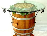 Wine Barrel Table with wrought iron brackets | Home ...