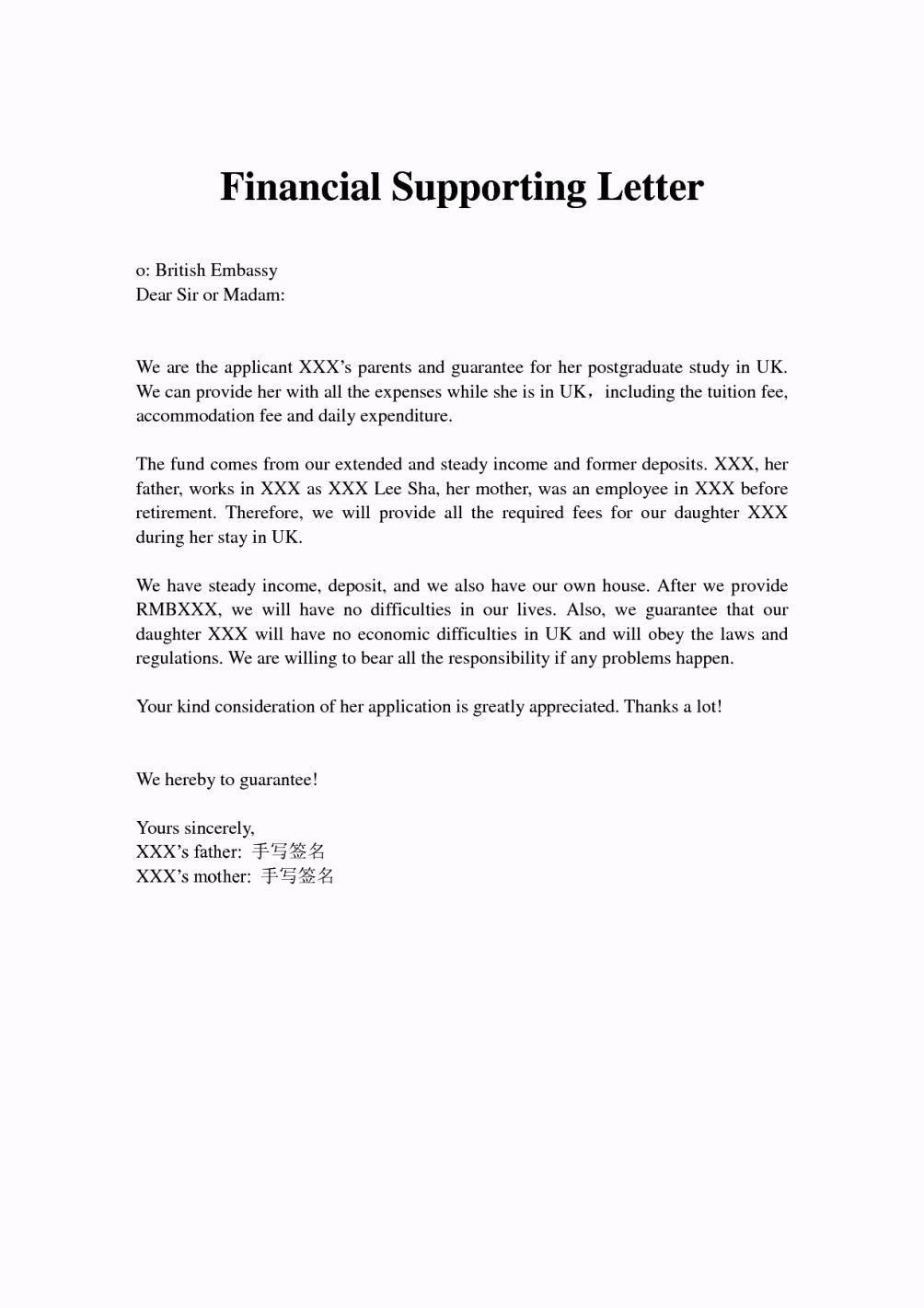 Financial Support Letter From Parents  letter  Pinterest