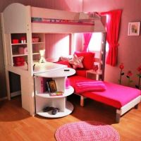 girls bunk beds with stairs and desk   Kids bunk bed with ...