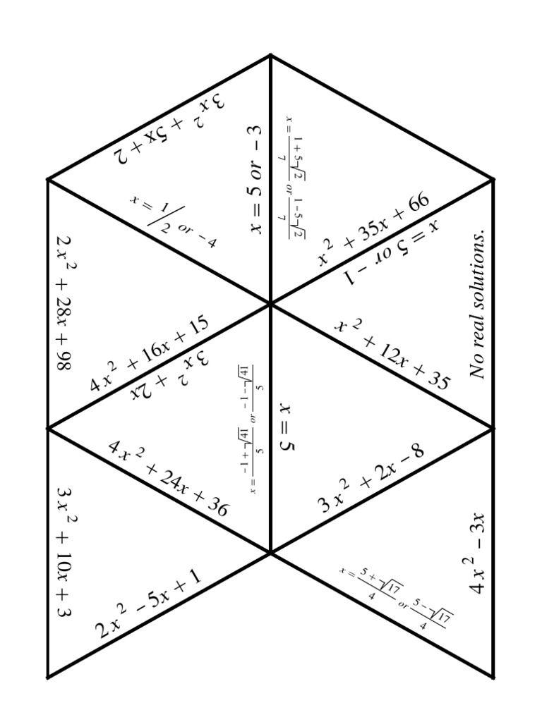 A quadratic equations puzzle! Cut up the triangles