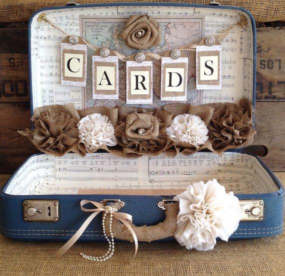 Vintage Koffer Wedding Card Inhaber Shabby Chic Hochzeit