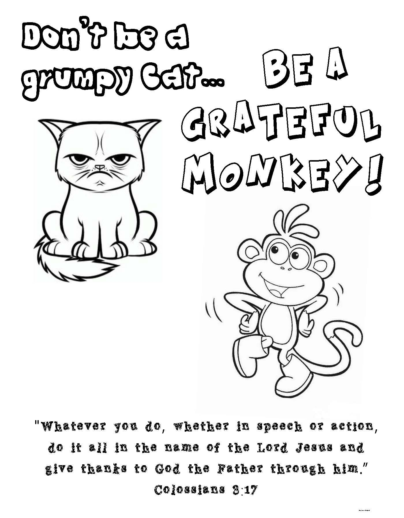 Colossians 3 17 Coloring Page Grumpy Cat Boots From Dora