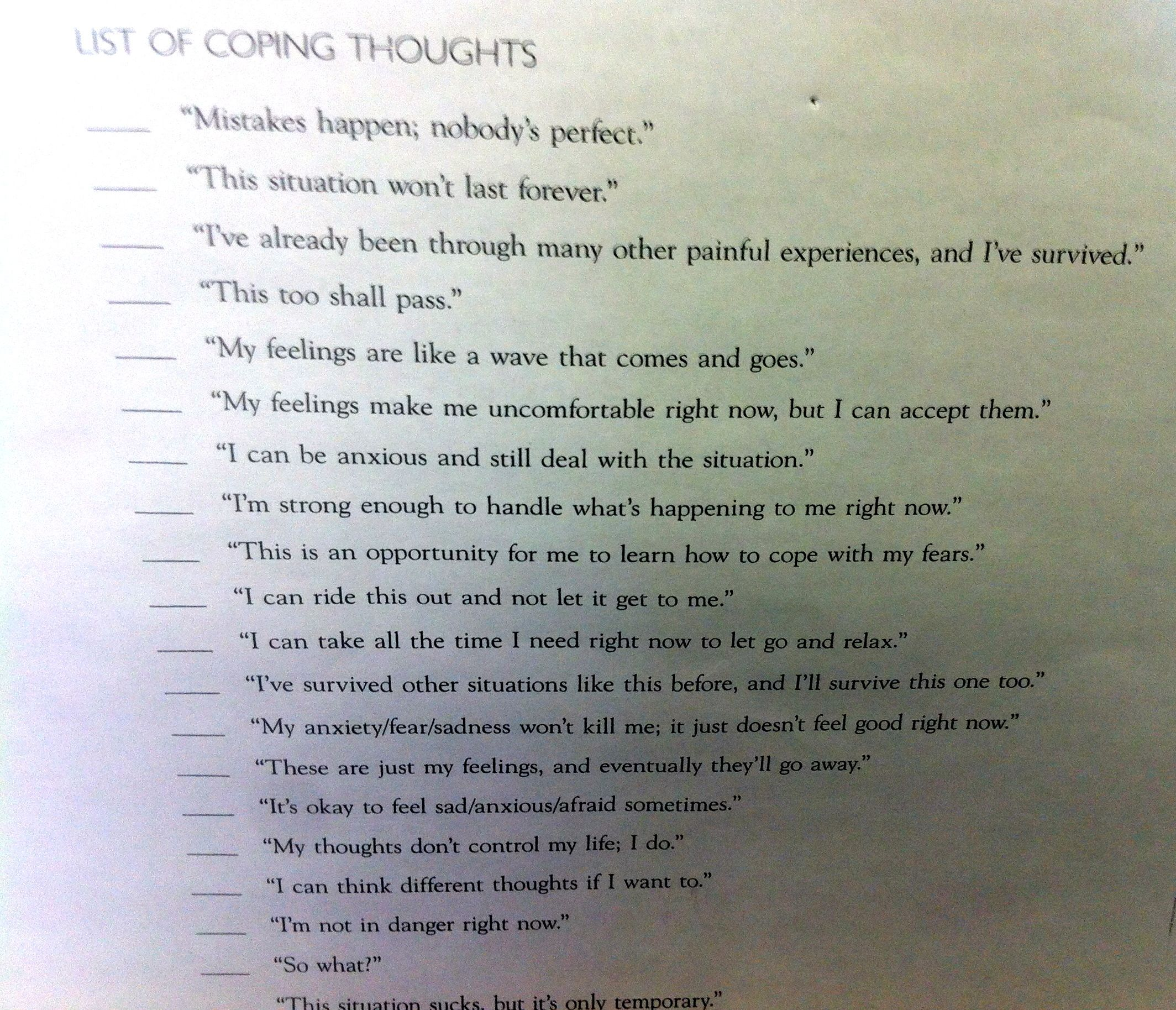 Thinking Coping Skills