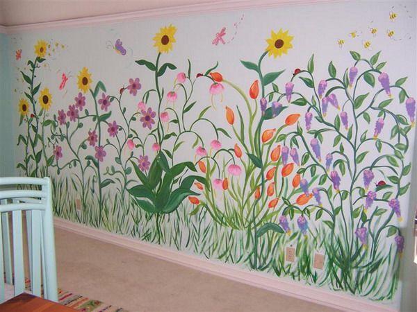 Flower Garden Wall Murals Design Wall Murals Pinterest