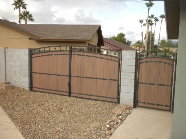 Cool Rv Gate And Man With Faux Wood Panels Arched