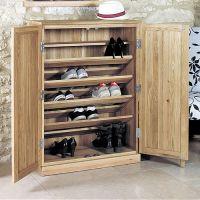 Large Oak Shoe Storage Cupboard - Mobel    ...