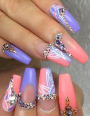 purple pink rhinestone nails design