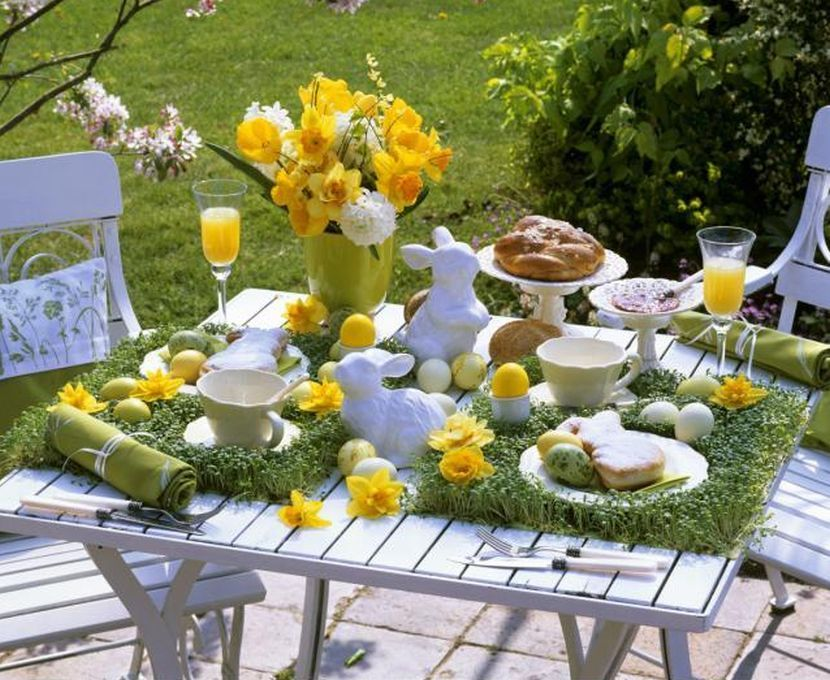 Cute Yellow Floral Arrangement On Spring Garden Party Table Bunny