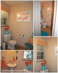"Orange & Turquoise Bathroom - {with free print: ""every ..."