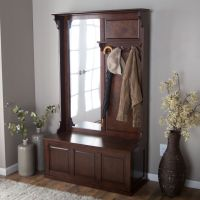 Entryway Hall Tree Coat Rack Storage Bench Vertical Mirror