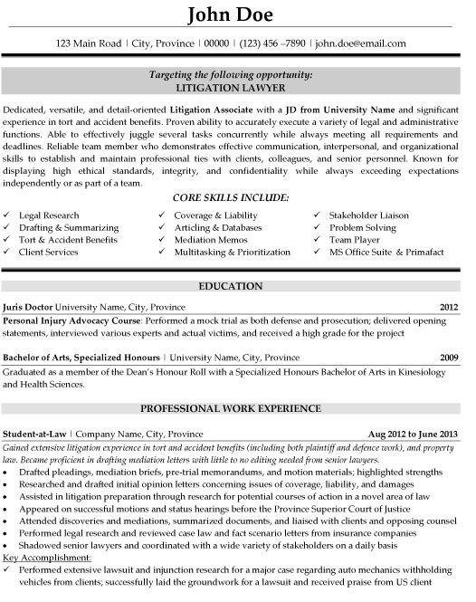 Attorney Resume Examples - Examples of Resumes - patent associate sample resume