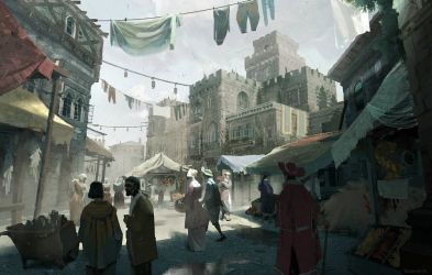 medieval concept brotherhood market creed fantasy assassin rome artstation valdes donovan town wallpapers hd district street middle ages environment 1080