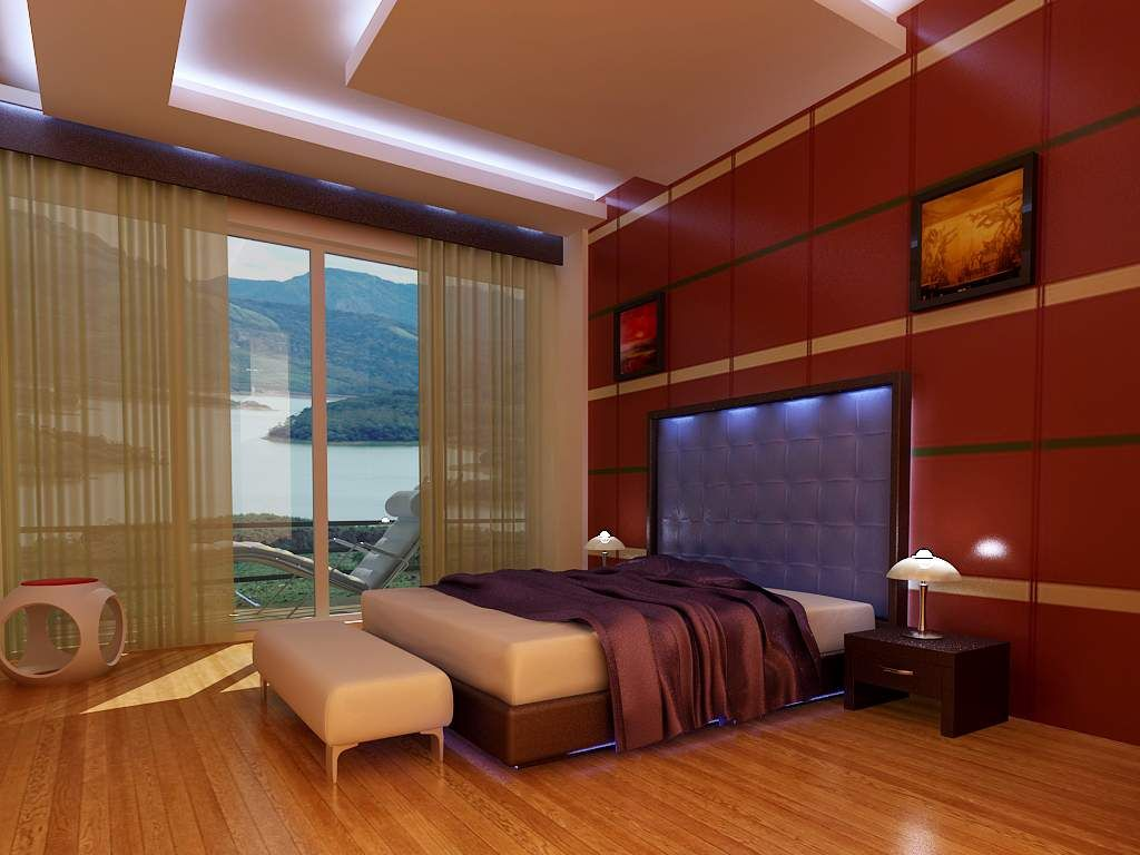 Beautiful 3D Interior Designs With Wood Parquet And Shiny LED