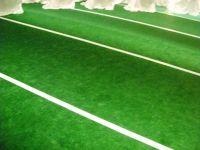 Football field, indoor/outdoor carpet & strip it w/ tape ...