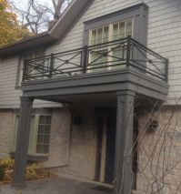 Outdoor Black Iron Balcony Railing In Crisscross Design ...