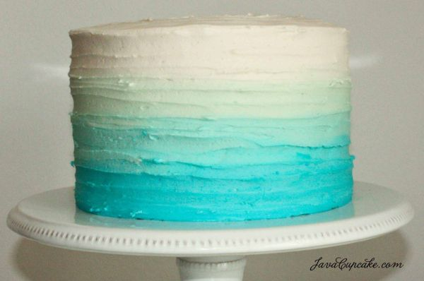 Blue Ombre Cake With Ribbon Icing Effect