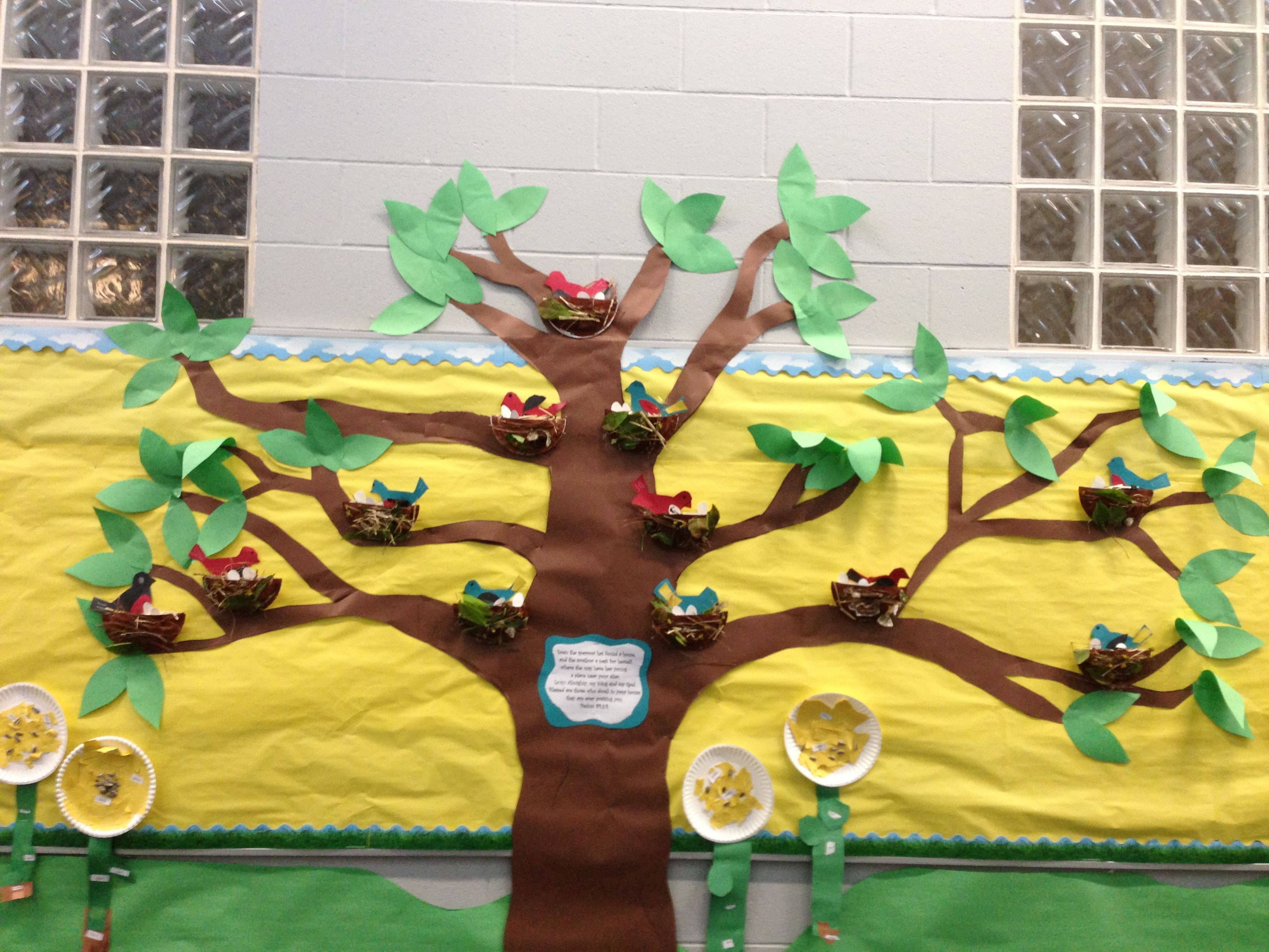 Bird Nest Craft Kindergarten Bulletin Board Oviparous Animals