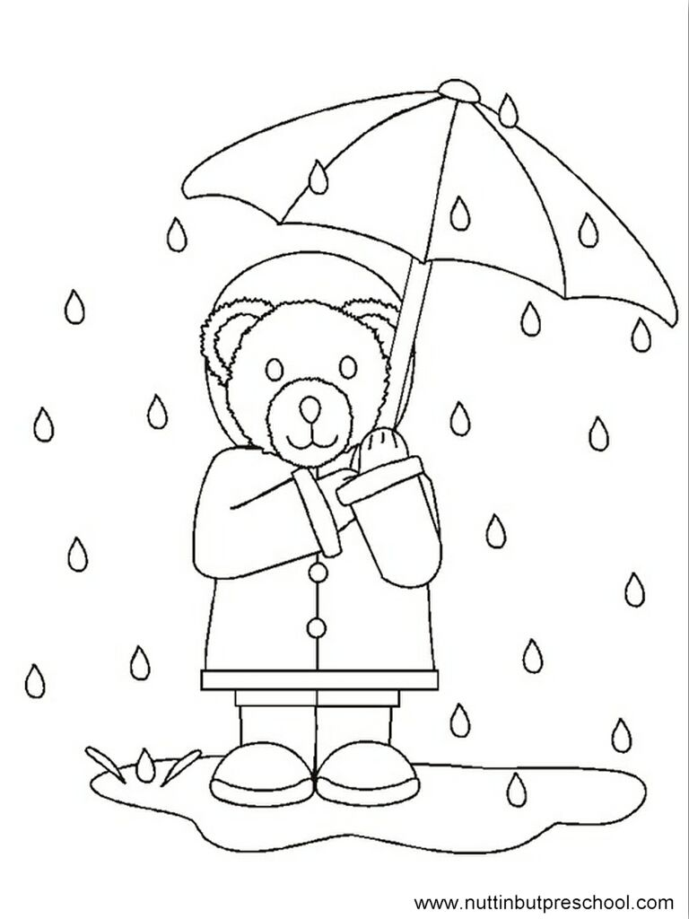 Rain Bear Coloring Page offered on Nuttin' But Preschool