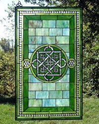 Celtic Storm of Bricks Stained Glass Window