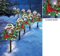 CHRISTMAS RED BIRDS OUTDOOR PATHWAY LIGHT SET HOLIDAY YARD