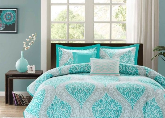 Comforter set piece aqua full queen bed bedding shams pillows new also