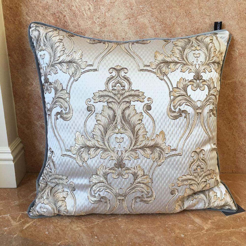 Rodeo Home Decor Pillow Gray Baroque Silver Gold Scroll Damask