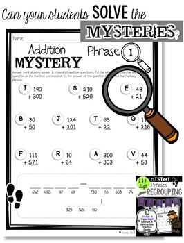 Math Mystery Phrases without Regrouping (2- & 3-Digit
