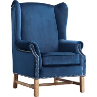 TOV Furniture Nora Navy Velvet Wing Chair w/ Silver Nailhead