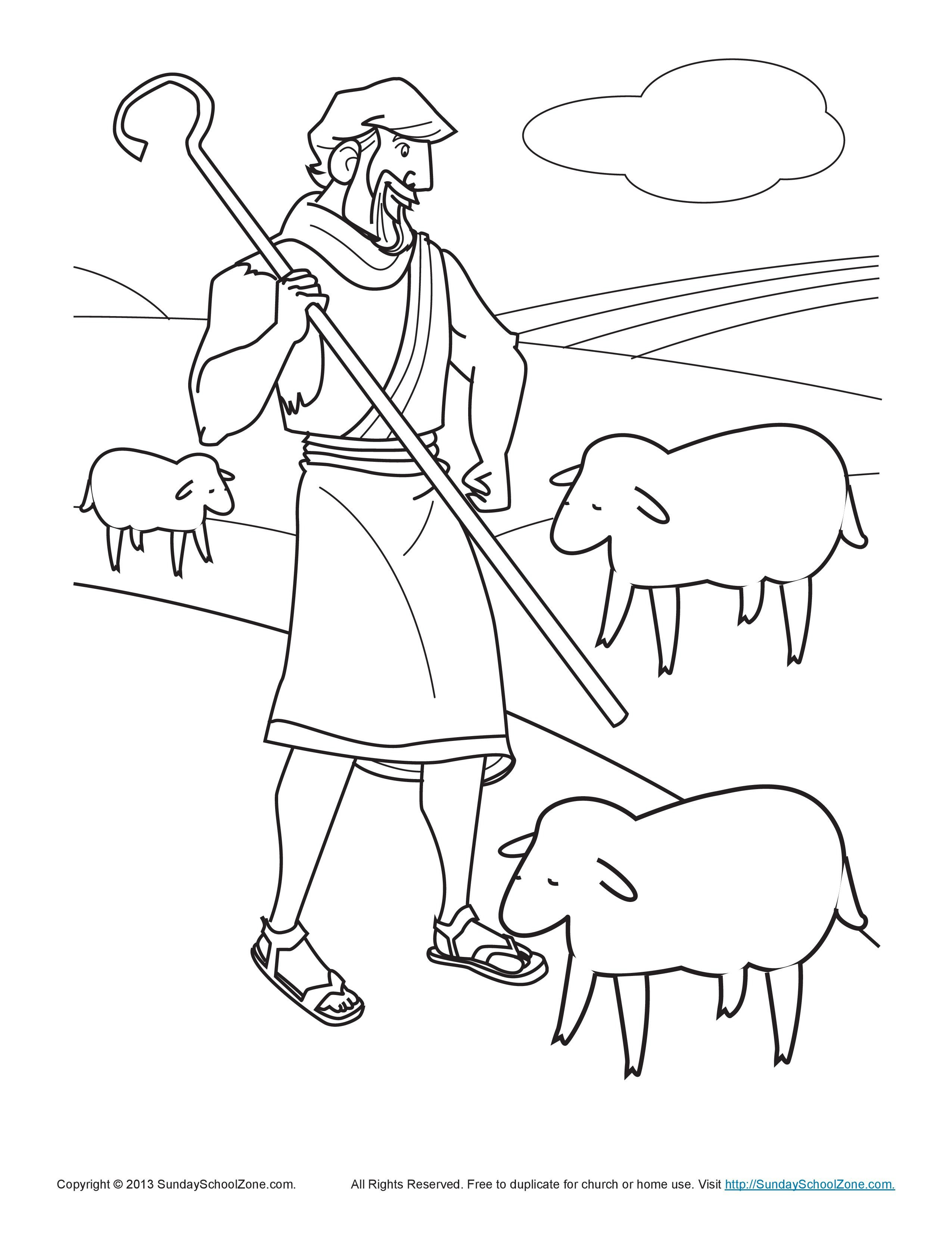 The Shepherd Tends His Flock Coloring Page