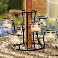 tealight candle holder around umbrella