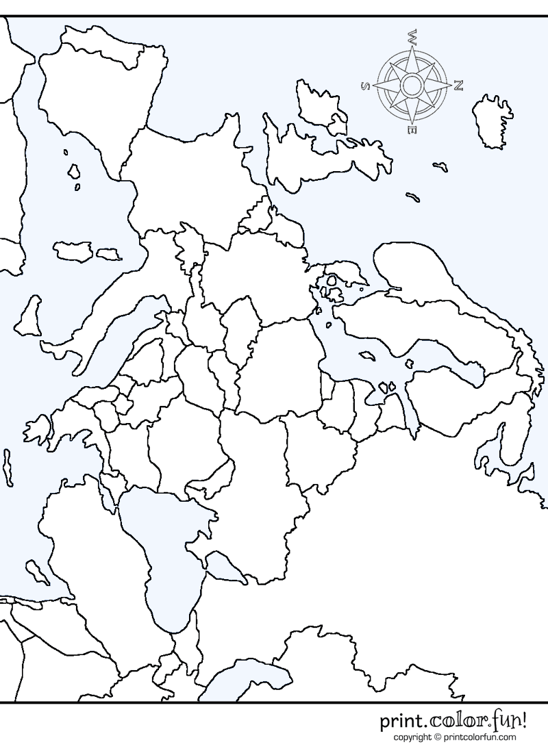Free Coloring Page, Map of Europe from Print Color Fun