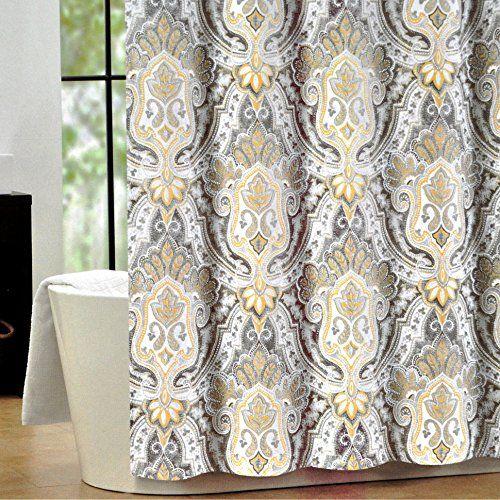 Tahari Luxury Cotton Blend Shower Curtain Yellow Gray Paisley On