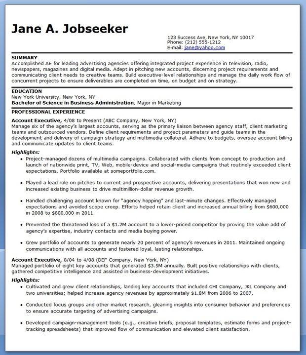 Sample Resume Account Executive Advertising Creative Resume