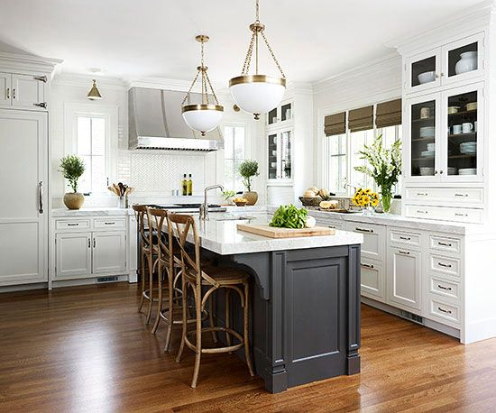 Contrasting Kitchen Islands  White kitchen island