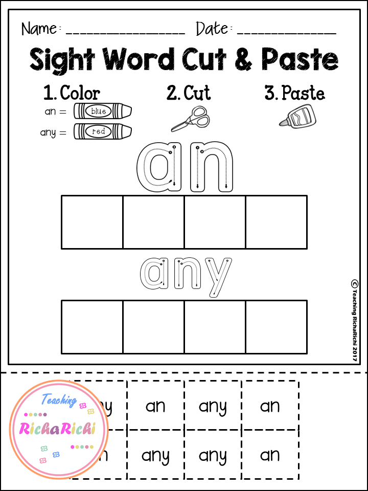 Sight Word Cut and Paste Worksheets (First Grade