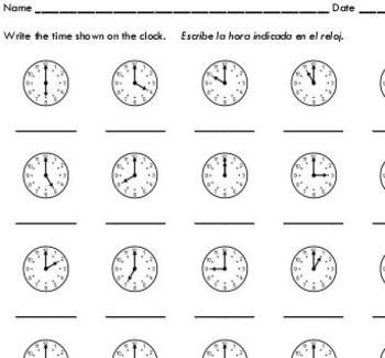 This worksheet asks students to write the time shown on